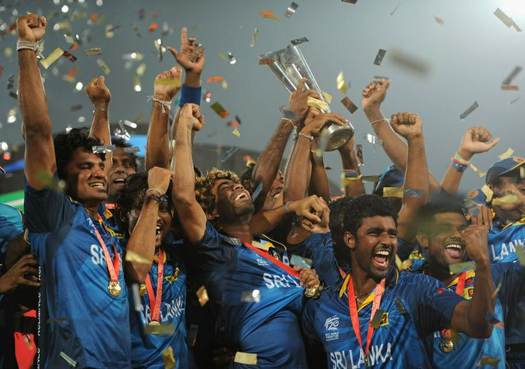 The Sri Lankan players celebrate with the World T20 trophy, India v Sri Lanka, final, World T20, Mirpur, April 6, 2014