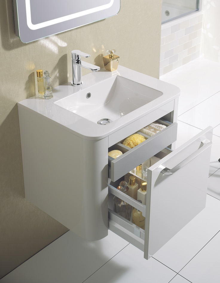 Celeste White Gloss Bathroom Furniture Unit & Basin from Crosswater http://www.bauhaus-bathrooms.co.uk/product/celeste-white-gloss/celeste-60-unit-and-basin-white-gloss/