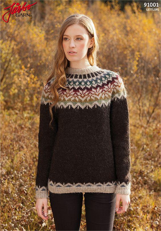 """Afmæli"" anniversary sweater in Icelandic wool Léttlopi. Design by Védís Jónsdóttir. Free Swedish pattern available on our website. Free English pattern available via Ravelry and on www.istex.is."