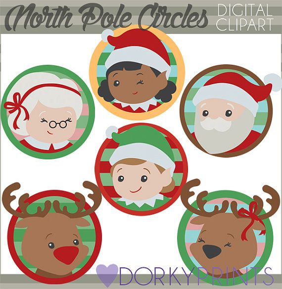 Christmas Clipart Santa And Elves Personal And Limited Etsy Christmas Clipart Clip Art Simple Collage
