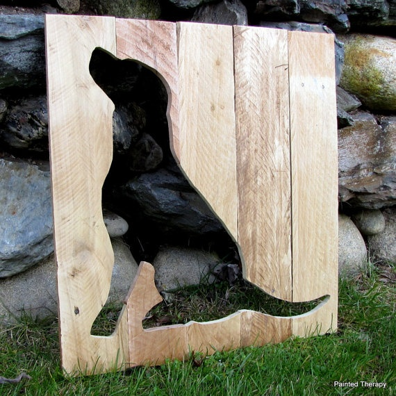 RESERVED for buxfan21 - Dog Silhouette from Reclaimed Pallet Wood Home Art Decor