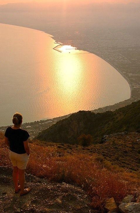 The city of Kalamata at sunset (Messenian gulf, Peloponnese)