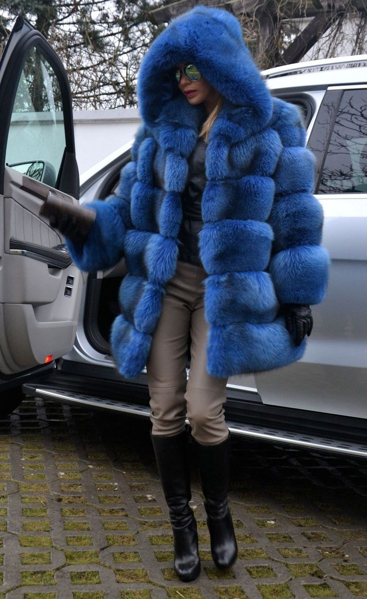 Blue Royal Saga FOX FUR Coat Hood Like Jacket Sable Mink Lynx Silver Chinchilla | eBay