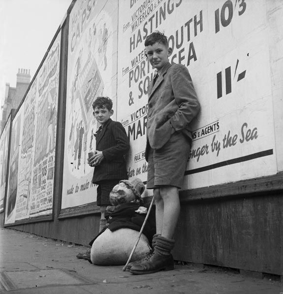 """Boys with their homemade Guy Fawkes cir. 1950s - we did this to get money to buy fireworks. """"Penny for the Guy, Mister?"""" Could never get the Catherine Wheels to work!"""