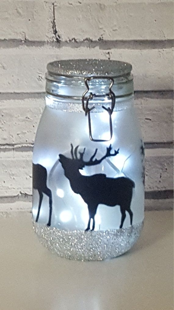 Stag, deer, Night light, mood lighting, Light jar, fairy lights, large jars perfect for kids night light, garden light, mood lighting, lamp