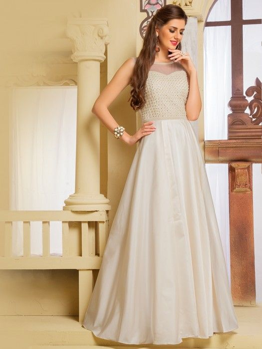 white gown, white party gown, prom gown, wedding wear gown, wedding ...