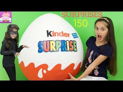 GIANT KINDER SURPRISE EGG 150 Surprises STAR WARS Transformers Disney Princess Toys Play DOH Egg - YouTube