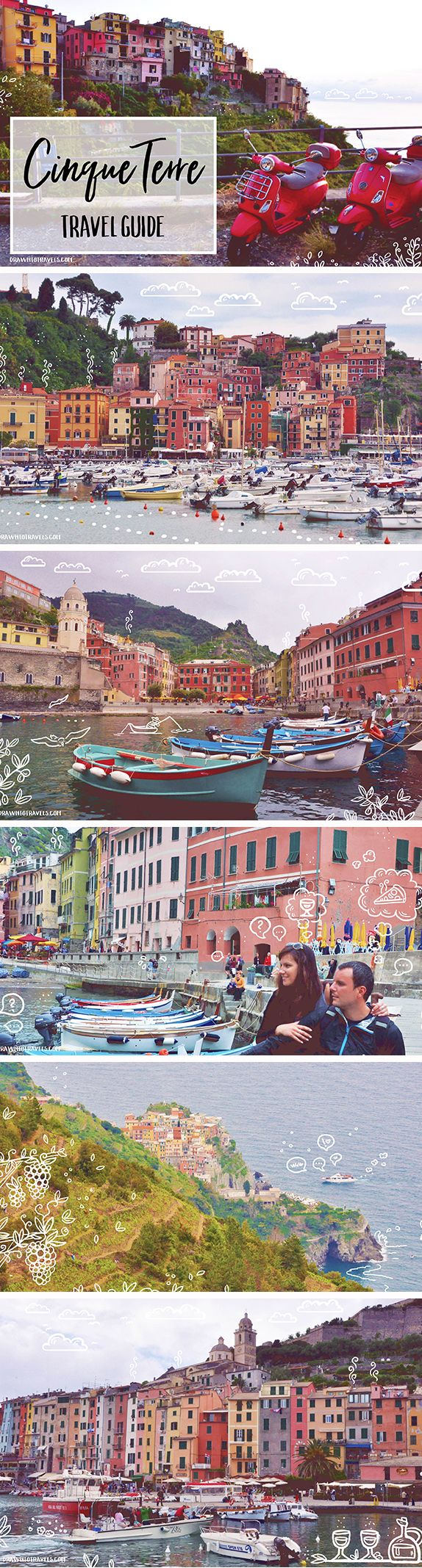 Drawntotravels.com: Cinque Terre, this beloved colorful gem is located on the west coast of Italy, 2 hours from Genoa or 1 hour from Pisa. The Cinque Terre area includes five towns: Riomaggiore, Manarola, Corniglia, Vernazza, and Monterosso al Mare.