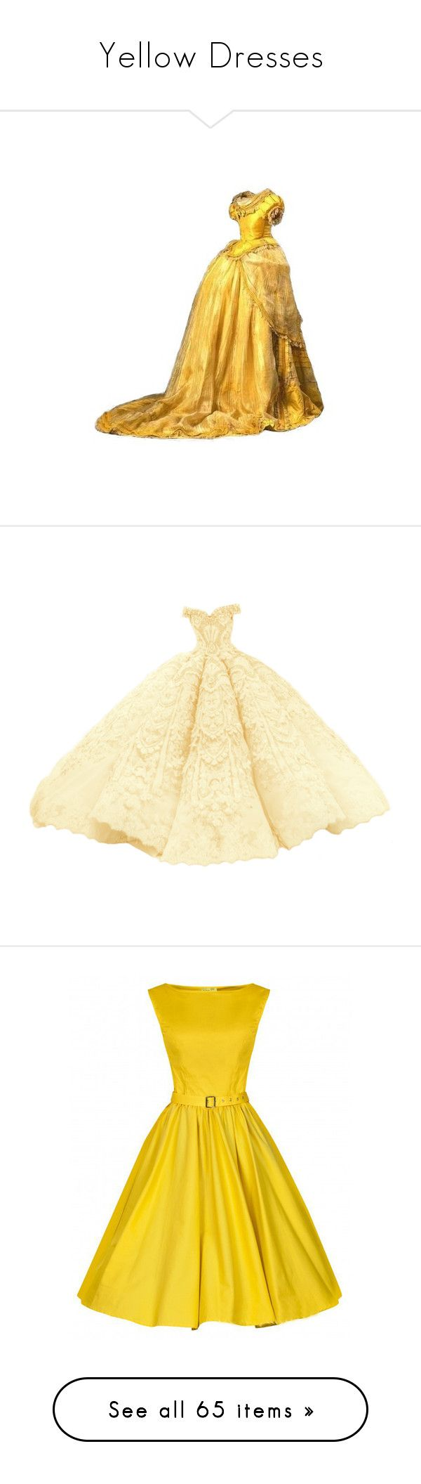 """""""Yellow Dresses"""" by delta14o6 on Polyvore featuring dresses, the dresses, gown, beige dress, vestido, yellow, vintage dresses, vintage sleeveless dress, yellow dress and vintage day dress"""