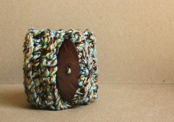 Mocha Sky Chunky Cuff Bracelet with Button - Multicolor - blue, tan, brown, READY TO SHIP $12.50