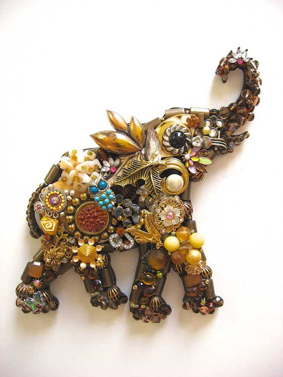 Vintage Jewelry Elephant Collage Sculpture by ArtCreationsByCJ, $85.00