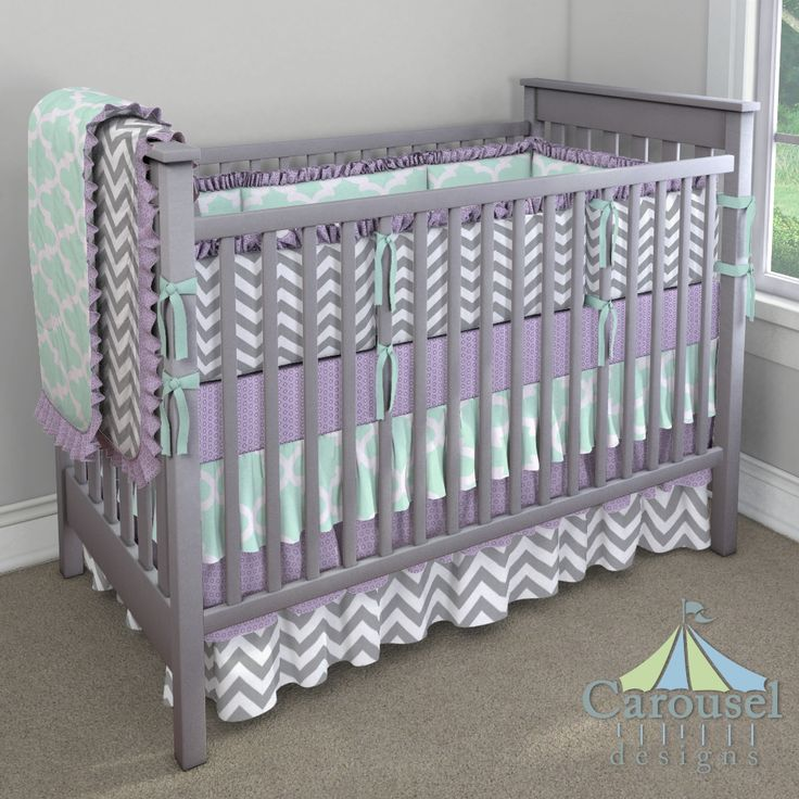 PERFECT!!!!  Crib bedding in Mint Large Quatrefoil, White and Gray Zig Zag, Purple Dots, Solid Seafoam Aqua. Created using the Nursery Designer® by Carousel Designs where you mix and match from hundreds of fabrics to create your own unique baby bedding. #carouseldesigns
