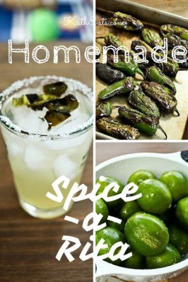 Homemade Spice-a-Rita recipe. Perfect for a spicy happy hour! // katheats.com #cocktails #homemade #recipe #jalapenos #limes #margarita