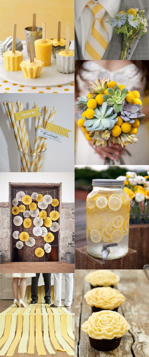 yellow wedding - would be a nice color combo for a birthday or gender revel party