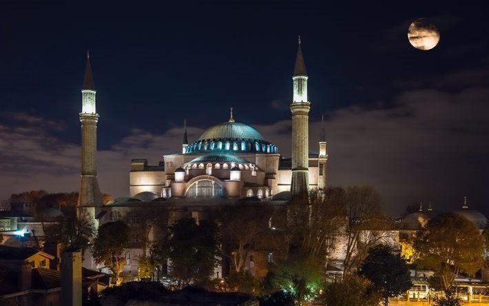 Scarica sfondi moschea, la sera, la Basilica di santa Sofia, la notte, la Turchia, Istanbul