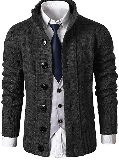 0e8c217eb6 MIEDEON Mens Casual Stand Collar Cable Knitted Button Down Cardigan Sweater  at Amazon Men s Clothing store