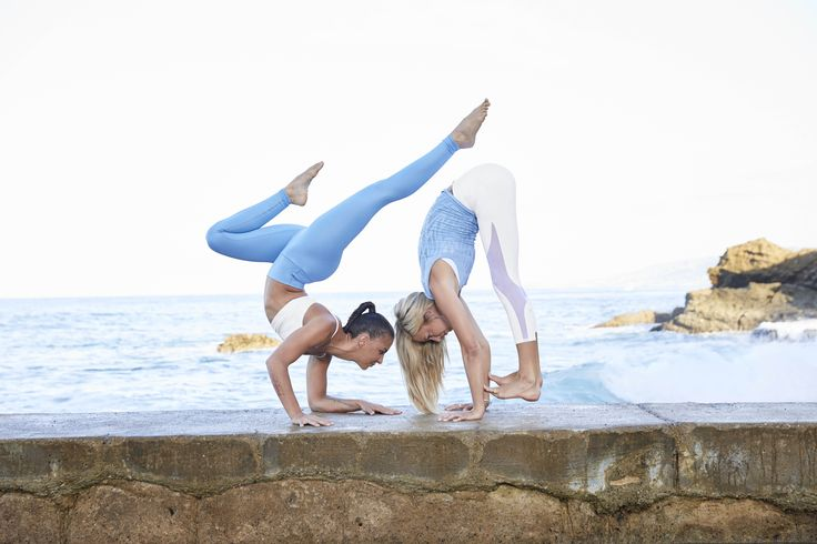 @aubrymarie is featured in the Airbrush Legging and Goddess Bra and @ashleygalvinyoga is featured in the Coast Legging and Vixen Fitted Muscle Top #aloyoga #beagoddess