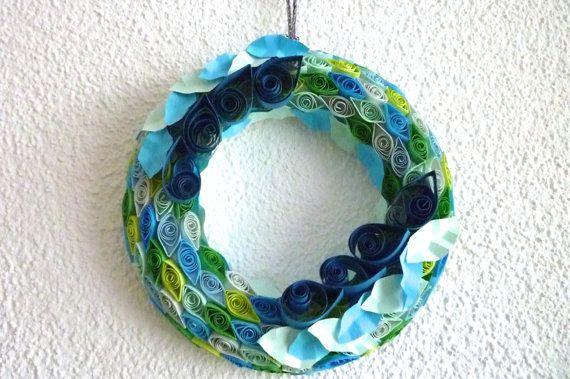 handmade Wreath of paper quilling in fresh colour blue by ByAzalea, 15.00