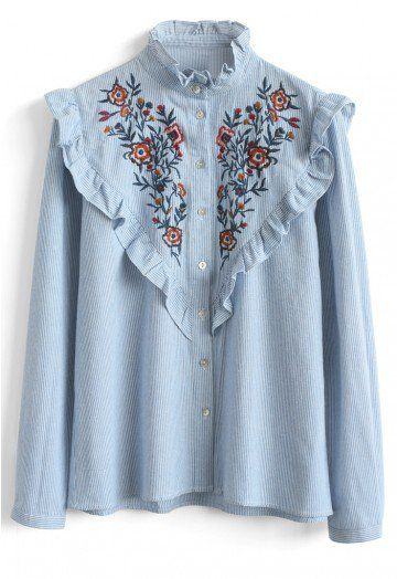 Flower power is still the name of the game, babes! Your blouse game is about to be significantly elevated by this blue striped blouse boasting fun ruffles at the shoulders and floral embroidery that adds a pop of color.  - Floral embroidery - Ruffle trimming on neckline, bust and shoulder - Button down closure - Buttoned cuffs - 100% Polyester - Hand wash  Size(cm) Length  Bust Shoulder Sleeves S/M      63     96    38      57 Size(inch) Length Bust Shoulder Sl...