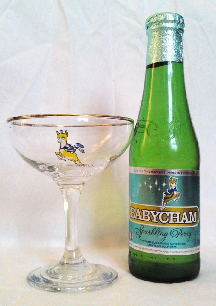 Classic Babycham bottle and Babycham glass