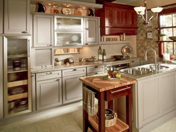Wohnideen Küche toskana flair grauweiße schränke kirschholz