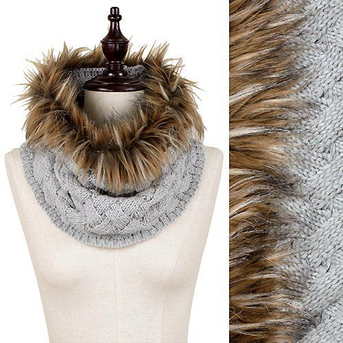 """Womens Grey Woven Pattern Knitted Tube Scarf with Faux Fur Trim. Approx. 34"""" W X 17"""" L. 100% Acrylic. WHS001 http://www.amazon.com/dp/B0147IAT24/ref=cm_sw_r_pi_dp_VP5mwb0X5KYY6"""
