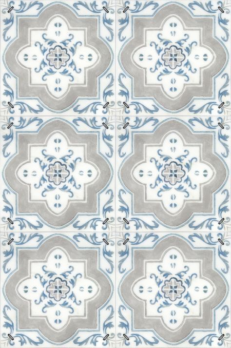There Is Nothing More Clic Than The Catalina Patterned Tile Featured On A Carrara Marble This Light Blue Spanish Will Look Stunning In Your Kitchen
