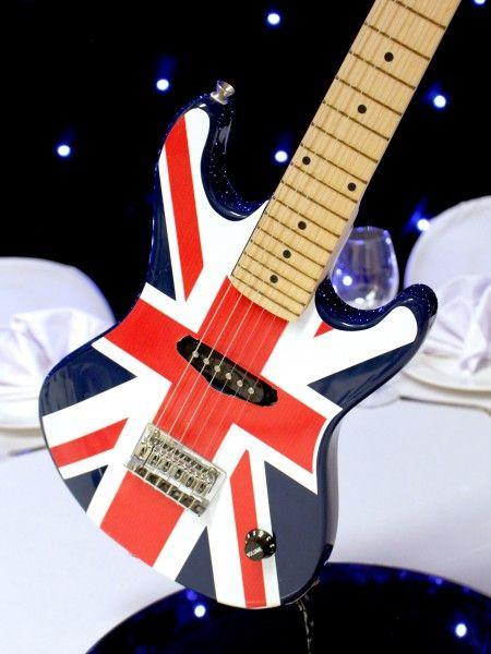 Brit Pop Guitar Table Centre | British Party Theme | British Party Theming Hire | Event Prop Hire