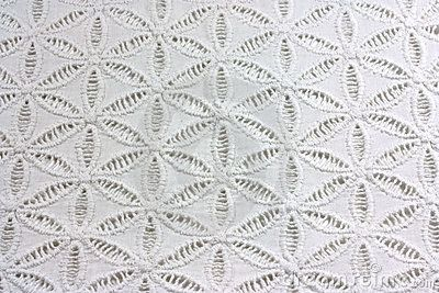 a background of white lacy cotton fabric.