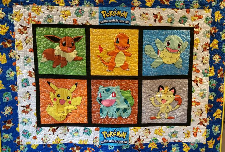 Baby toddler quilt made with Pokemon fabric by TerrisTreasures4U