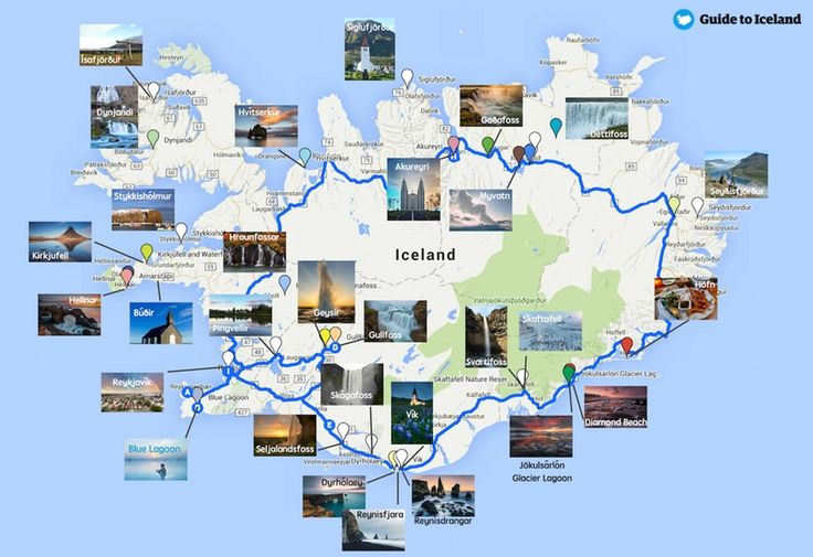 Iceland Ring Road Map + key attractions along Route 1