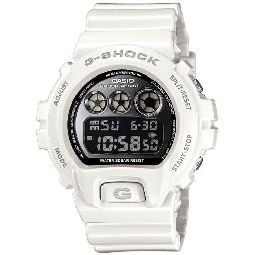 The Casio G-Shock DW-6900NB-7ER is part of the popular 6900 range, with the iconic three circular displays across the top of the dial. In classic white resin with a contrasting black dial, this watch is packed with features as well as being shock and water resistant so it's ready for anything! RRP £95 Our Price £65