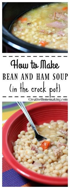 Quick and easy ham and bean soup that you can make in your crock pot with a leftover ham bone.