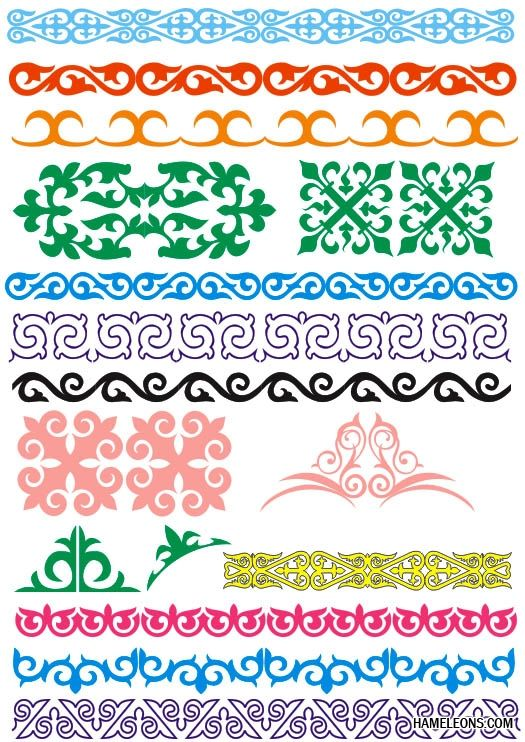 Казахский орнамент в векторе