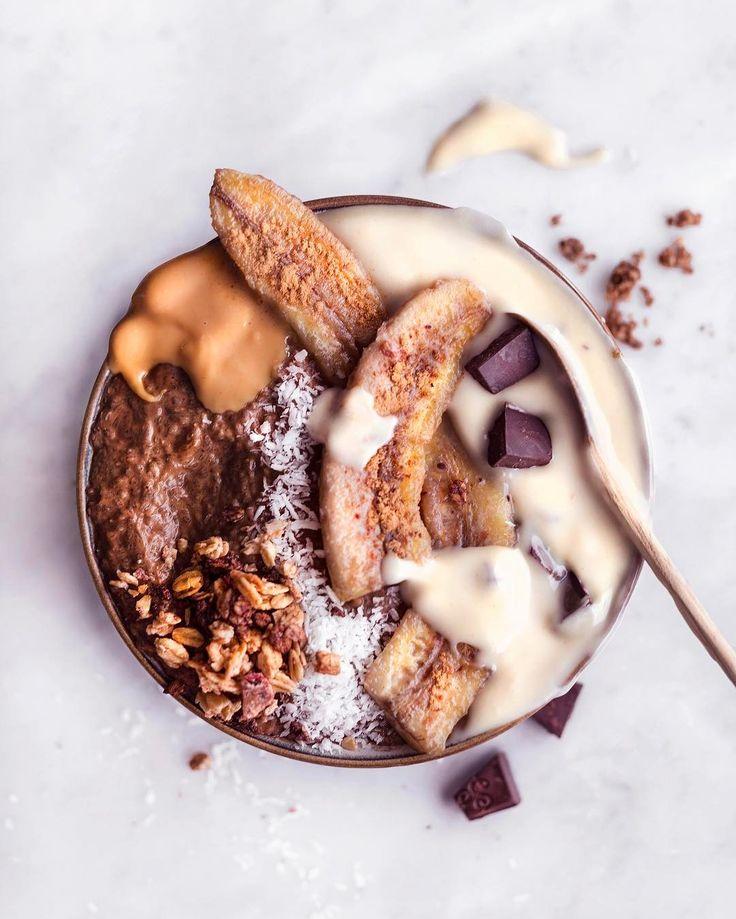 Pure Pleasures Breakfast Bowl w/ Chocolate Chia Pudding & Roasted Bananas | by VANELJA