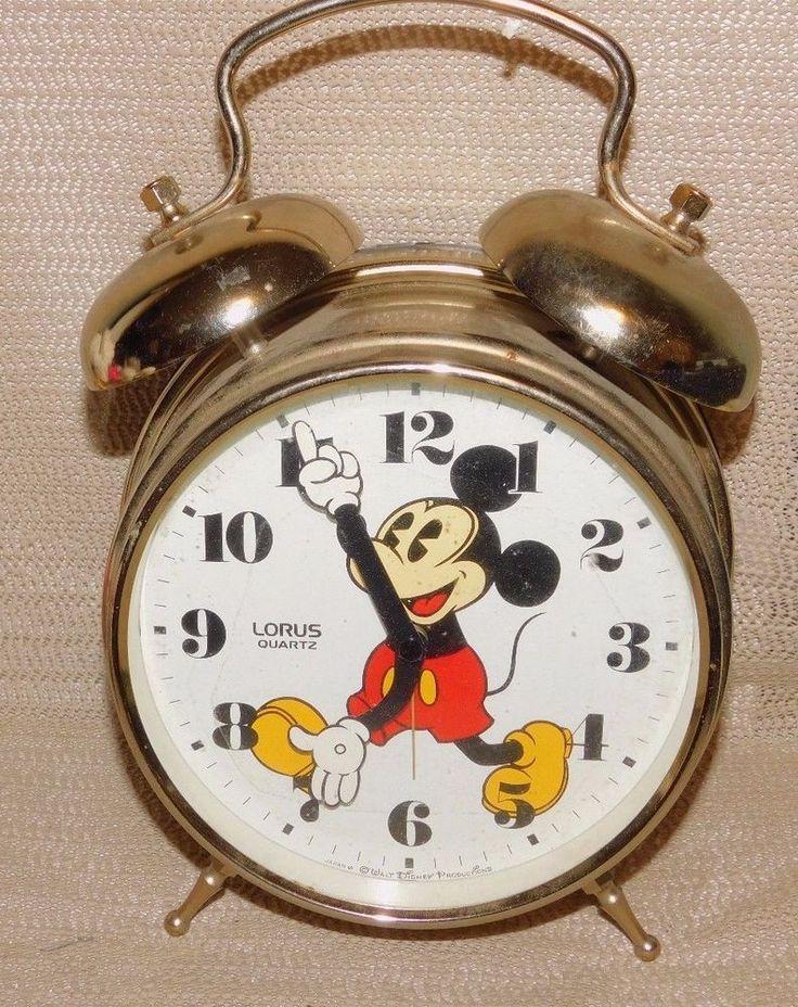 Mickey Mouse : Walt Disney Large Brass Alarm Clock  Lorus Quartz Battery Operate