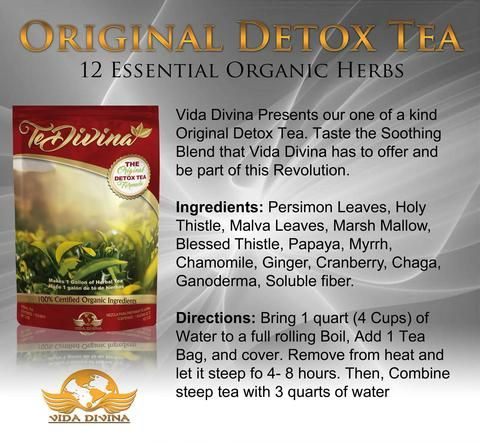 The most amazing TEA you will ever have in your life! 100% Certified Organic, this power-packed tea will change your life! Detox your body at the cellular level! #Tea #TeDivina #Detox #Organic #Vegan #Natural #DoubleTakeBody #VidaDivina #DivineLife