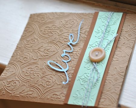 "Embossed ""Love"" Handmade Card - using her new embossing folders"