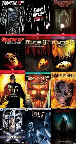 Friday the 13th movies...gotta love classic horrors!  A list of all of them, some are definitely much better than others.