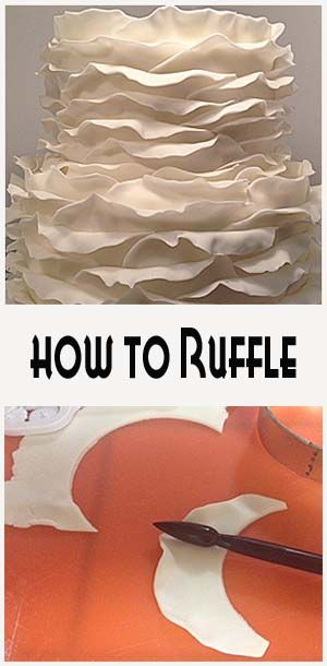 Ruffle Wedding Cake | Little Delights Cakes roll a little gumpaste powder into the fondant so it dries quickly, keep covered after rolled out until you cut each piece. cut rounded, use ball tool to shape once applied to cake.