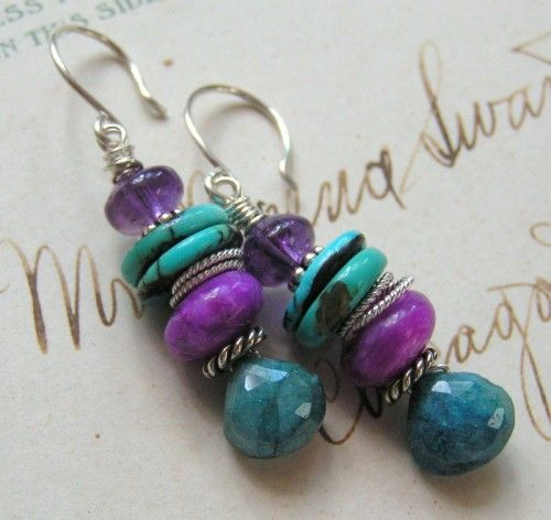 She Walks in Beauty / Chrsyocolla, Sugilite, Turquoise, Sterling  .. Valentines' Day Sale 35% OFF All Reg Jewelry thru Feb 15th!