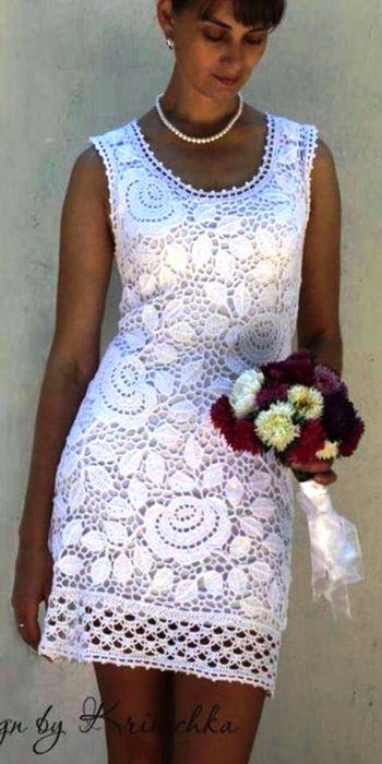 Белое платье из мотивов ирландского кружева розы. Платье вязаное в технике ирландского кружева   Я Хозяйка