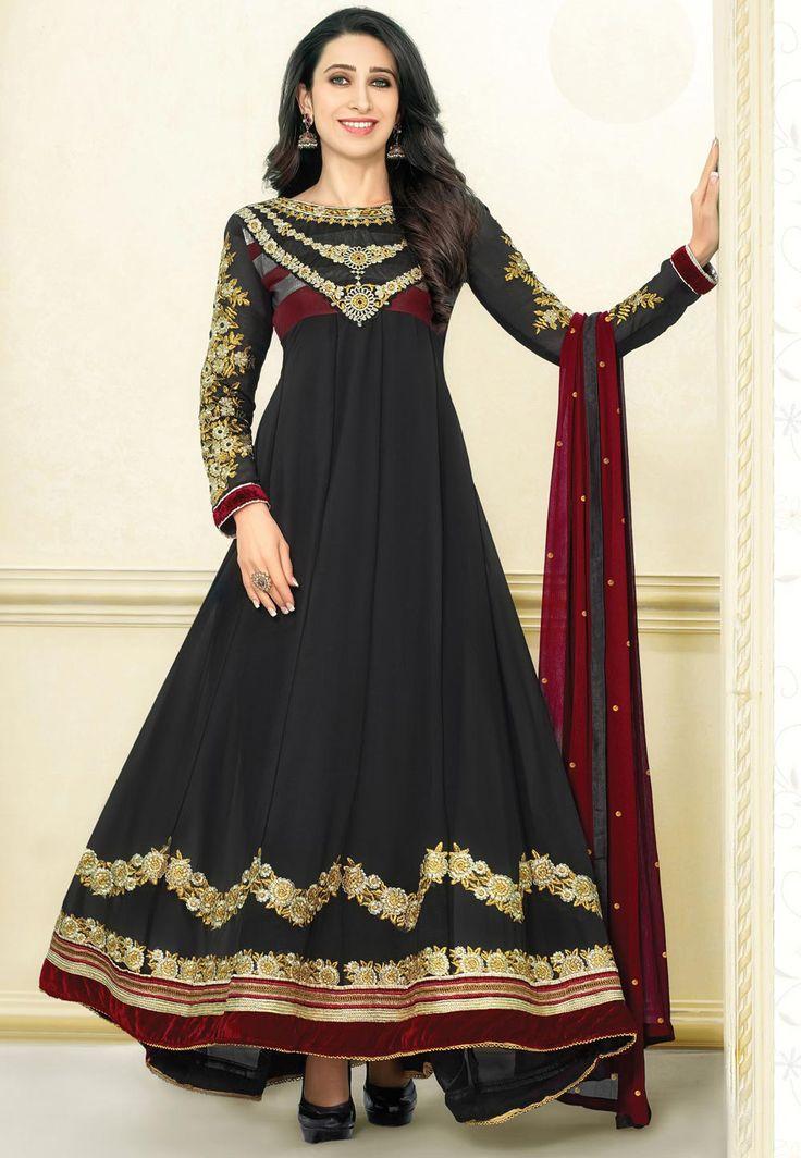 #Black Faux #Georgette Abaya Style #ChuridarKameez. Item Code: KZD504 Price: $72.00