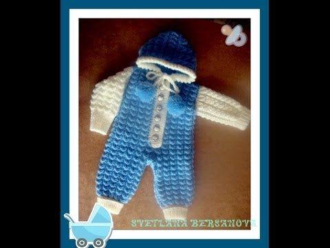 Комбинезон для малыша спицами. Часть 1. Jumpsuit for baby knitting - YouTube