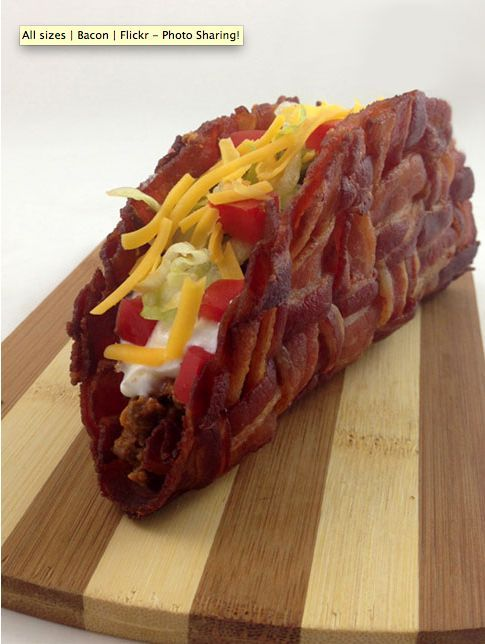 Woven Bacon Taco Shells. Make a breakfast taco. Scrambled Eggs, cheese, potatoes - YUM