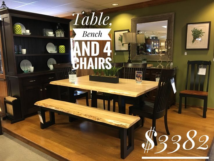 Two tone maple table and bench. Lifetime warranty and free delivery within 100 miles! Call 330-440-2470 to place an order. #maple #family #table #kitchen #design #hotel #dining #eat #ladies #wood #farm #farmhouse  #bench #buffet