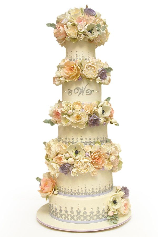 wedding cakes northern new jersey%0A Silver  u     Lavender Floral Wedding Cake    Spring Wedding Cakes