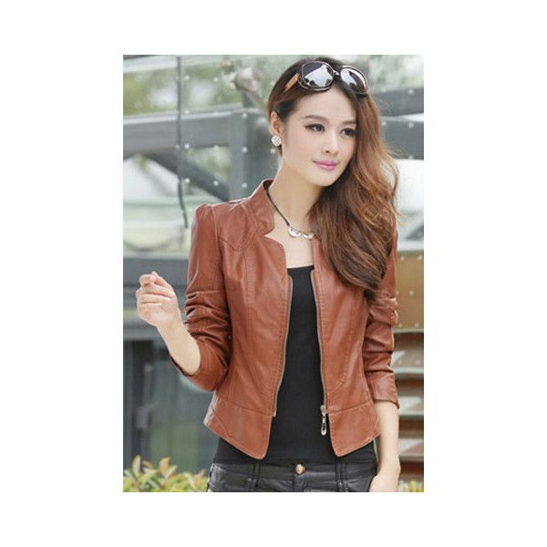 Elegant Stand Neck Zipper Solid Color Long Sleeve Slimming Short PU... ($19) ❤ liked on Polyvore featuring outerwear, jackets, brown, brown pleather jacket, slim jacket, long sleeve jacket, brown jacket and slim fit jacket