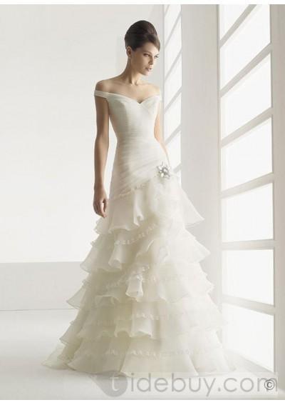 Off the shoulder Sleeveless Organza Floor-length Sweep Train  Wedding Dress WD-0063