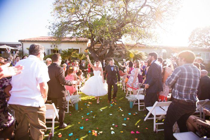 Us on www.greylikesweddings.com   Paper Hearts and Tea Length Wedding dress.